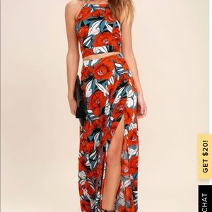 Back to Your Roots Red Floral Print Two-Piece Maxi